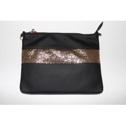 Taske/clutch sort med kobber pailletter
