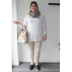 Bluse, elegant hvid eller khaki-sand