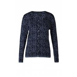 Cardigan blå leopard print