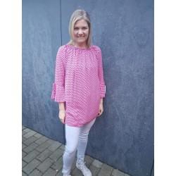 Bluse tunika pink med rosa...
