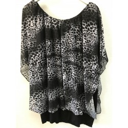 Bluse med sort/grå leopard...