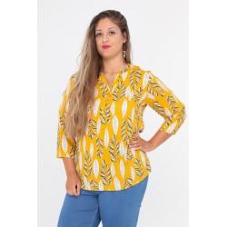 Bluse gul med bladprint