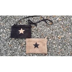 Stjerne taske i ruskind med lang rem