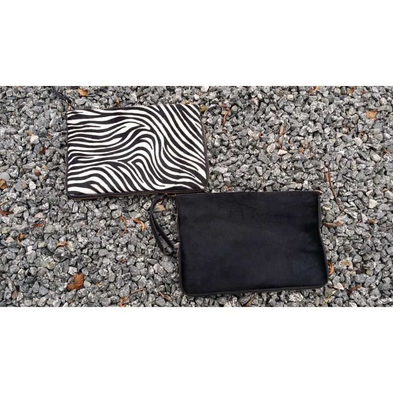 edbcdc12d36 Stor skind taske med sort eller ko